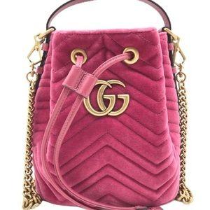 Gucci #525081 GG Marmont 2 Velvet Bucket Bag